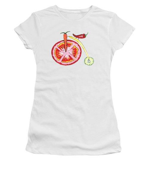 Veggie Bike Women's T-Shirt (Junior Cut) by Kathleen Sartoris