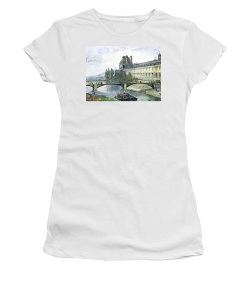 View Of The Pavillon De Flore Of The Louvre Women's T-Shirt (Junior Cut) by Francois-Marius Granet