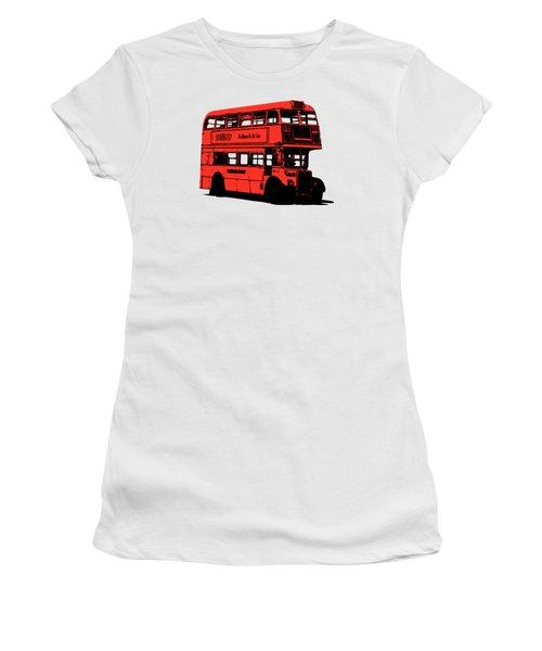 Vintage Red Double Decker London Bus Tee Women's T-Shirt (Junior Cut) by Edward Fielding