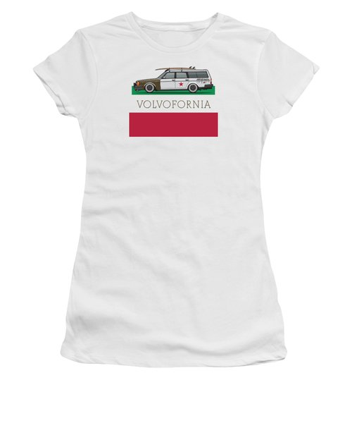 Volvofornia Slammed Volvo 245 240 Wagon California Style Women's T-Shirt (Junior Cut) by Monkey Crisis On Mars