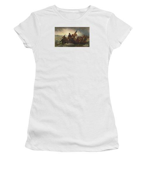 Washington Crossing The Delaware Women's T-Shirt (Junior Cut) by War Is Hell Store