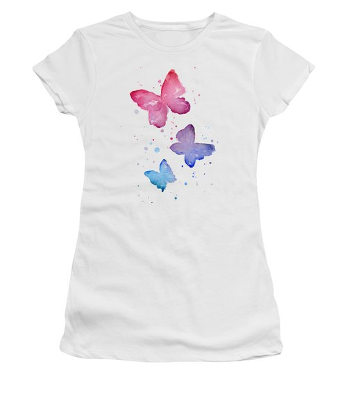 Watercolor Butterflies Women's T-Shirt (Junior Cut) by Olga Shvartsur
