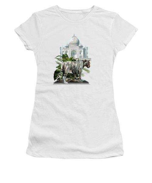 White Tiger And The Taj Mahal Image Of Beauty Women's T-Shirt (Junior Cut) by Regina Femrite