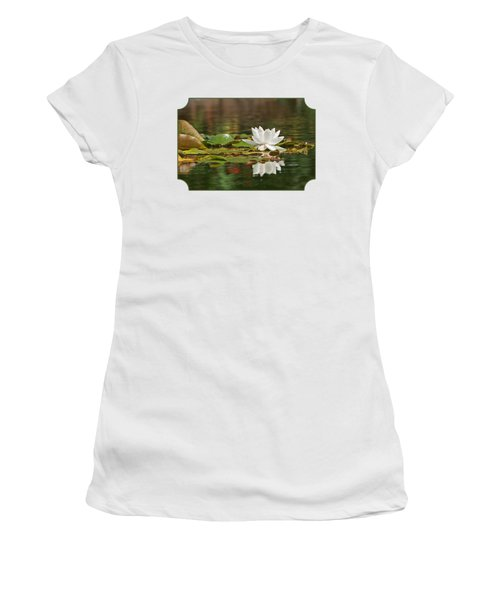 White Water Lily With Damselflies Women's T-Shirt (Junior Cut) by Gill Billington