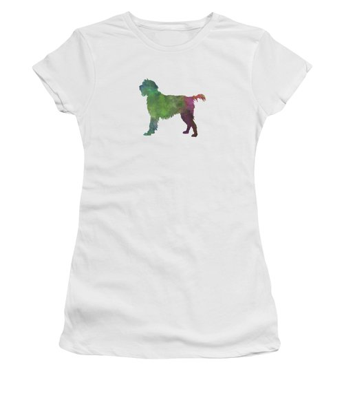 Wirehaired Pointing Griffon Korthals In Watercolor Women's T-Shirt (Junior Cut) by Pablo Romero