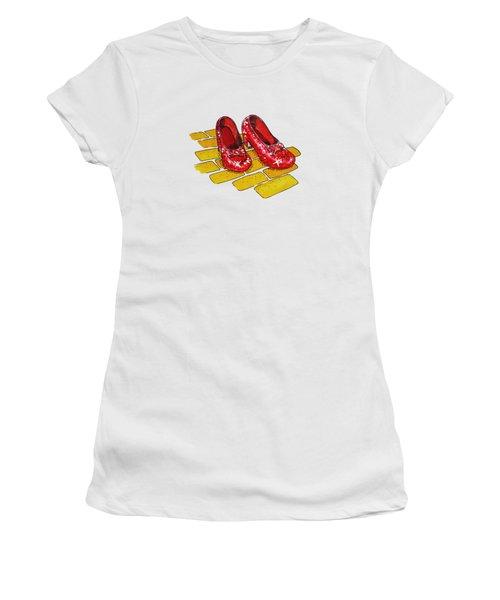 Wizard Of Oz Ruby Slippers Women's T-Shirt (Junior Cut) by Irina Sztukowski