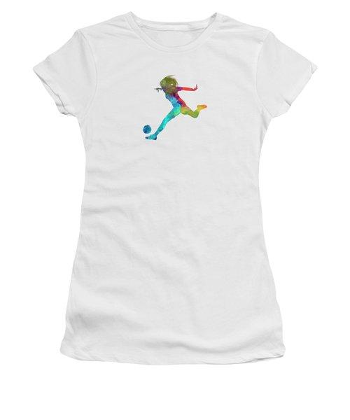 Woman Soccer Player 01 In Watercolor Women's T-Shirt (Junior Cut) by Pablo Romero