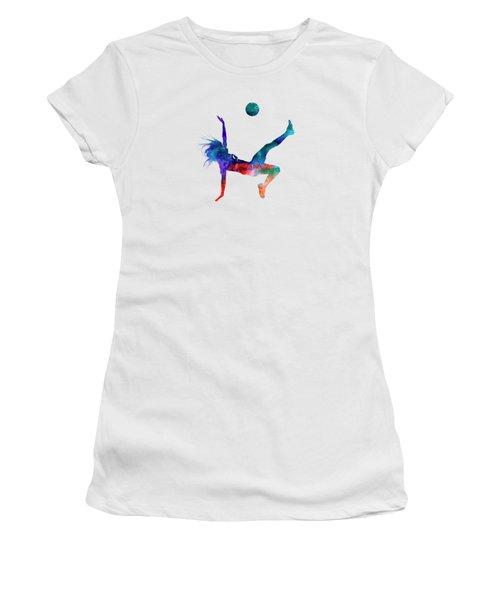 Woman Soccer Player 08 In Watercolor Women's T-Shirt (Junior Cut) by Pablo Romero