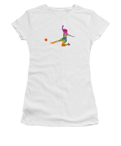 Woman Soccer Player 11 In Watercolor Women's T-Shirt (Junior Cut) by Pablo Romero