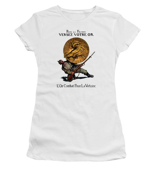 Wwi Gold For French Victory Women's T-Shirt (Junior Cut) by Historic Image