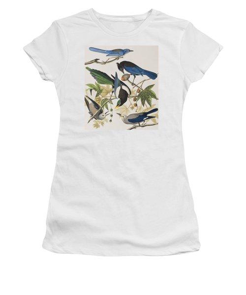 Yellow-billed Magpie Stellers Jay Ultramarine Jay Clark's Crow Women's T-Shirt (Junior Cut) by John James Audubon