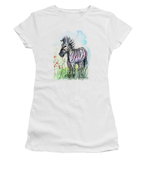 Zebra Painting Watercolor Sketch Women's T-Shirt (Junior Cut) by Olga Shvartsur