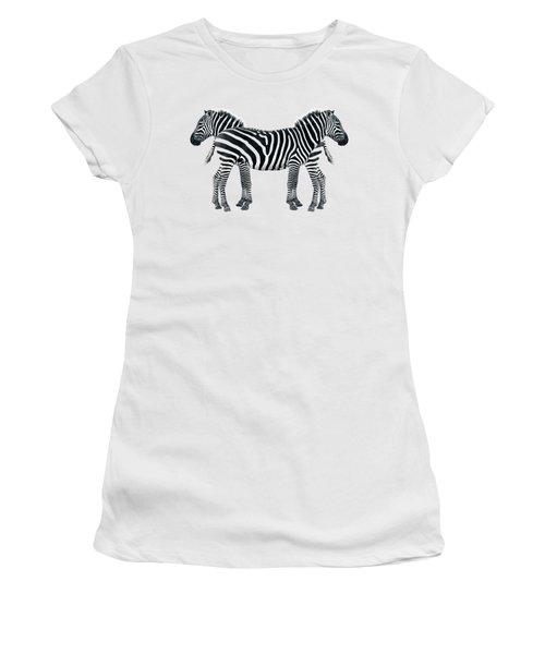 Zebra Pair On Black Women's T-Shirt (Junior Cut) by Gill Billington
