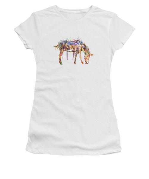 Zebra Watercolor Painting Women's T-Shirt (Junior Cut) by Marian Voicu