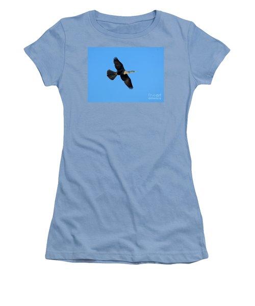 Anhinga Female Flying Women's T-Shirt (Junior Cut) by Anthony Mercieca