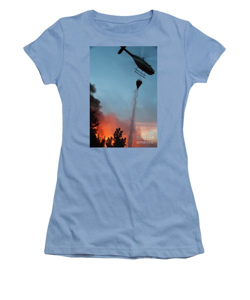 Women's T-Shirt (Junior Cut) featuring the photograph Helicopter Drops Water On White Draw Fire by Bill Gabbert