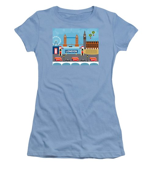 London England Skyline Style O-lon Women's T-Shirt (Junior Cut) by Karen Young