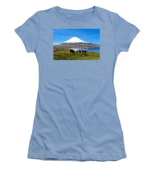 Parinacota Volcano Lake Chungara Chile Women's T-Shirt (Junior Cut) by Kurt Van Wagner