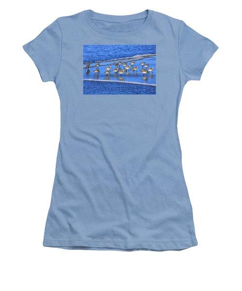 Sandpiper Symmetry Women's T-Shirt (Junior Cut) by Robert Bynum
