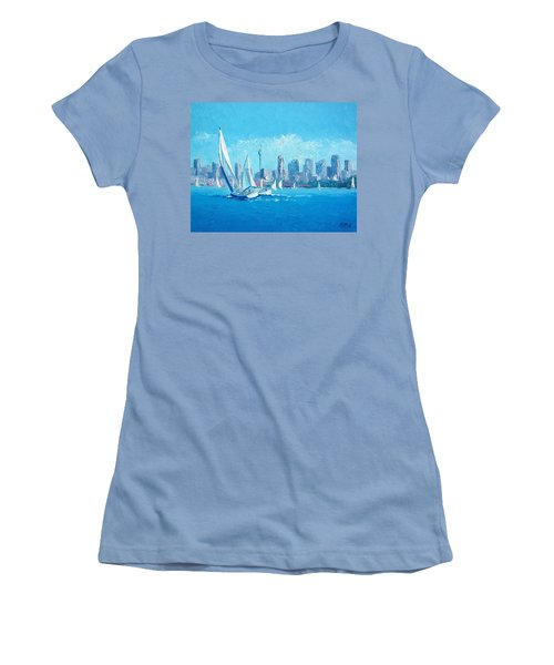 The Regatta Sydney Habour By Jan Matson Women's T-Shirt (Junior Cut) by Jan Matson