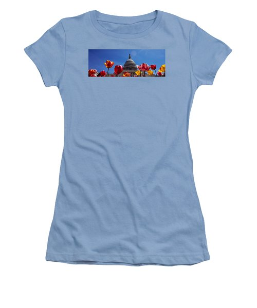 Tulips With A Government Building Women's T-Shirt (Junior Cut) by Panoramic Images