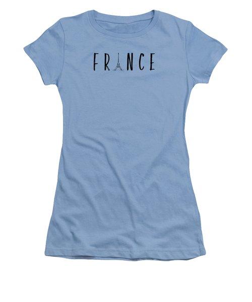 France Typography Panoramic Women's T-Shirt (Junior Cut) by Melanie Viola