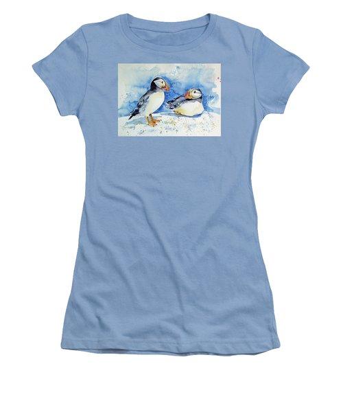 Puffins Women's T-Shirt (Junior Cut) by Kovacs Anna Brigitta
