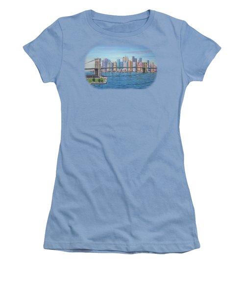 New York Brooklyn Bridge Women's T-Shirt (Junior Cut) by Renato Maltasic
