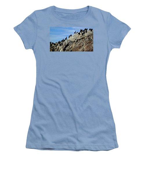 A Gulp Of Cormorants Women's T-Shirt (Junior Cut) by Sandy Taylor