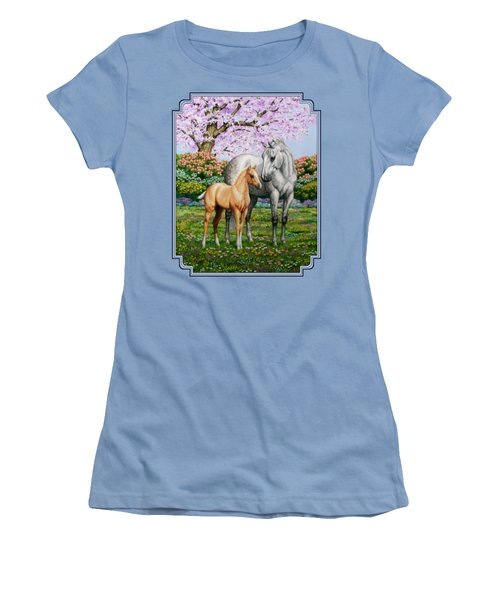 Spring's Gift - Mare And Foal Women's T-Shirt (Junior Cut) by Crista Forest