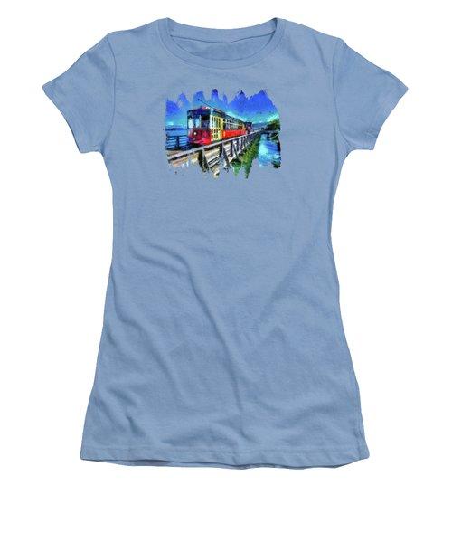 Astoria Riverfront Trolley Women's T-Shirt (Junior Cut) by Thom Zehrfeld