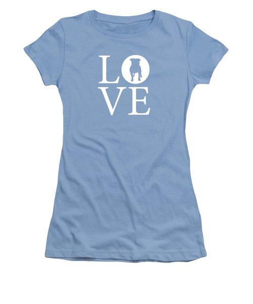 Bulldog Love Women's T-Shirt (Junior Cut) by Nancy Ingersoll