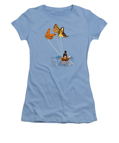 Butterfly Sailing Women's T-Shirt (Junior Cut) by Linda Lees