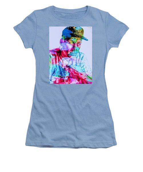 Cal Ripken Jr Baltimore Oriole Painted Digitally Women's T-Shirt (Junior Cut) by David Haskett