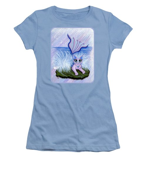 Elemental Water Mermaid Cat Women's T-Shirt (Junior Cut) by Carrie Hawks