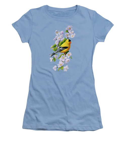 Goldfinch Blossoms Greeting Card 1 Women's T-Shirt (Junior Cut) by Crista Forest