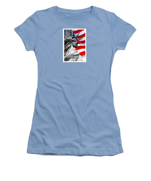 Graphic Statue Of Liberty With American Flag Text Liberty Women's T-Shirt (Junior Cut) by Elaine Plesser