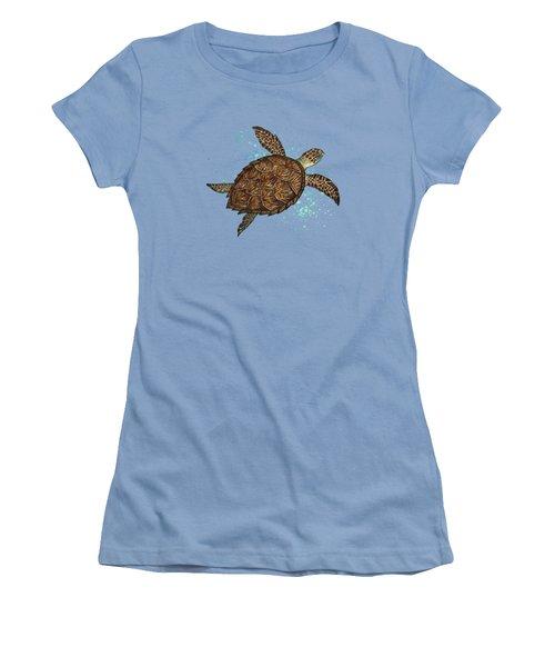 Hawksbill Sea Turtle Women's T-Shirt (Junior Cut) by Amber Marine