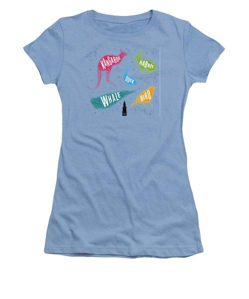 Kangaroo - Rabbit - Duck - Whale - Bird In Colors Women's T-Shirt (Junior Cut) by Aloke Design