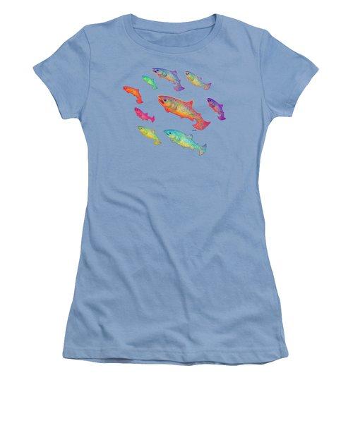 Leaping Salmon Shirt Image Women's T-Shirt (Junior Cut) by Teresa Ascone