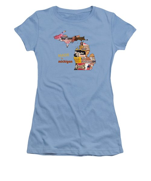 Made In Michigan Products Vintage Map On Wood Women's T-Shirt (Junior Cut) by Design Turnpike