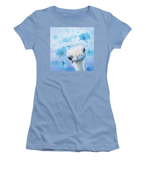 Ostrich In A Field Of Poppies Women's T-Shirt (Junior Cut) by Jan Matson