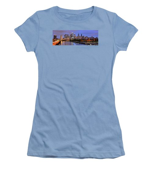 Philadelphia Philly Skyline At Dusk From Near South Color Panorama Women's T-Shirt (Junior Cut) by Jon Holiday