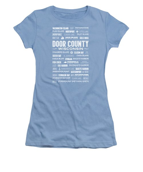 Places Of Door County On Blue Women's T-Shirt (Junior Cut) by Christopher Arndt