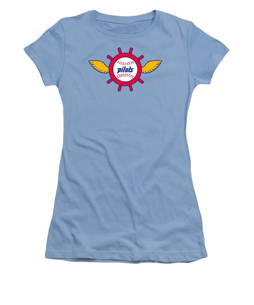 Seattle Pilots Retro Logo Women's T-Shirt (Junior Cut) by Spencer McKain