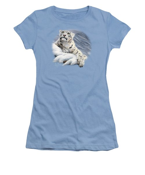 Snow Leopard Women's T-Shirt (Junior Cut) by Lucie Bilodeau