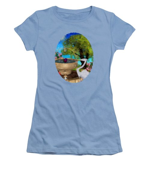 The Rose Path Egret Women's T-Shirt (Junior Cut) by Sharon and Renee Lozen