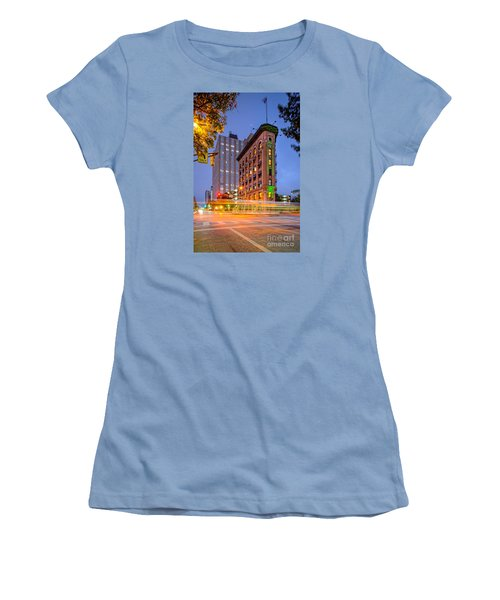 Twilight Photograph Of The Flatiron Building In Downtown Fort Worth - Texas Women's T-Shirt (Junior Cut) by Silvio Ligutti