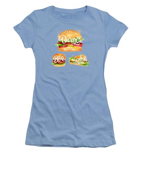 White Burger Women's T-Shirt (Junior Cut) by Aloke Design
