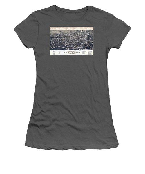 1880 Birds Eye Map Of Ann Arbor Women's T-Shirt (Junior Cut) by Stephen Stookey